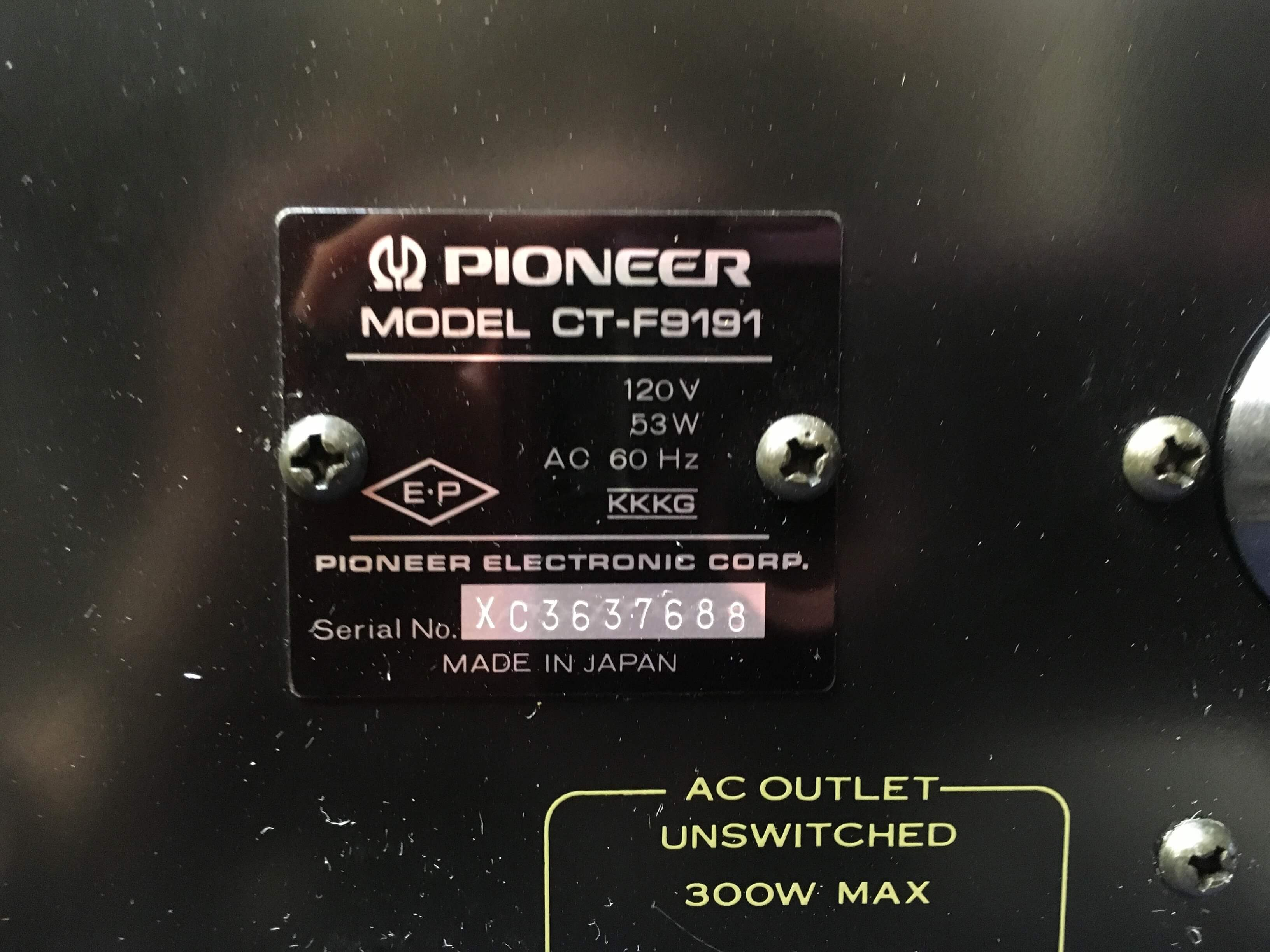 Pioneer cassette tape deck CT-F9191 (sold only with Pioneer receiver SX-1050)