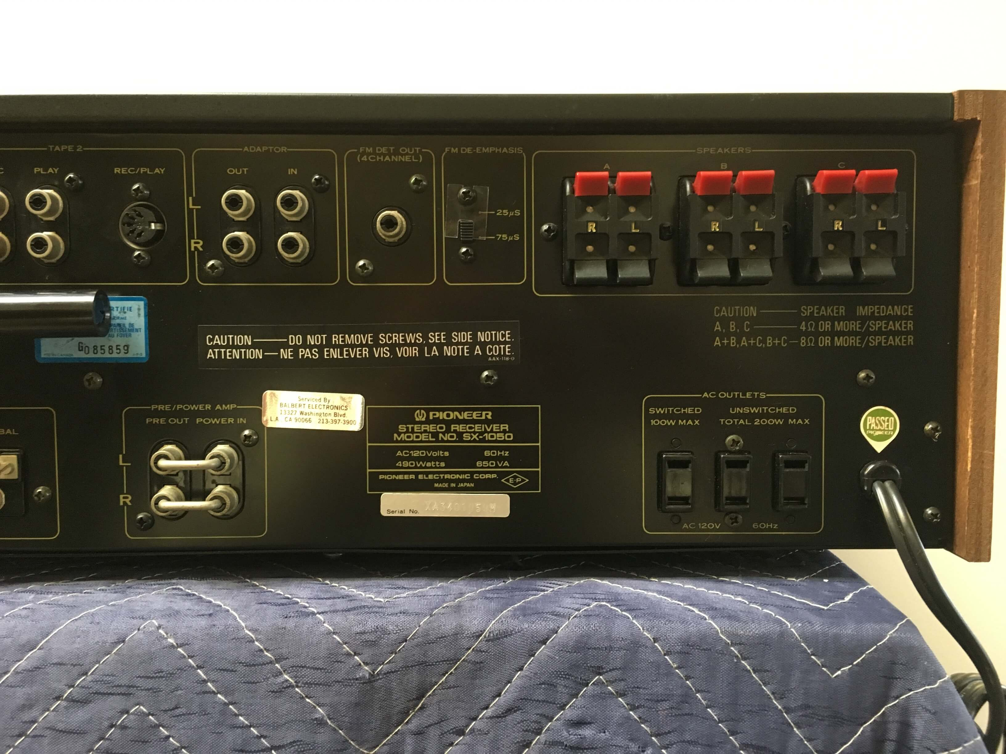 Pioneer receiver SX-1050 (sold only with Pioneer cassette tape deck CT-F9191)