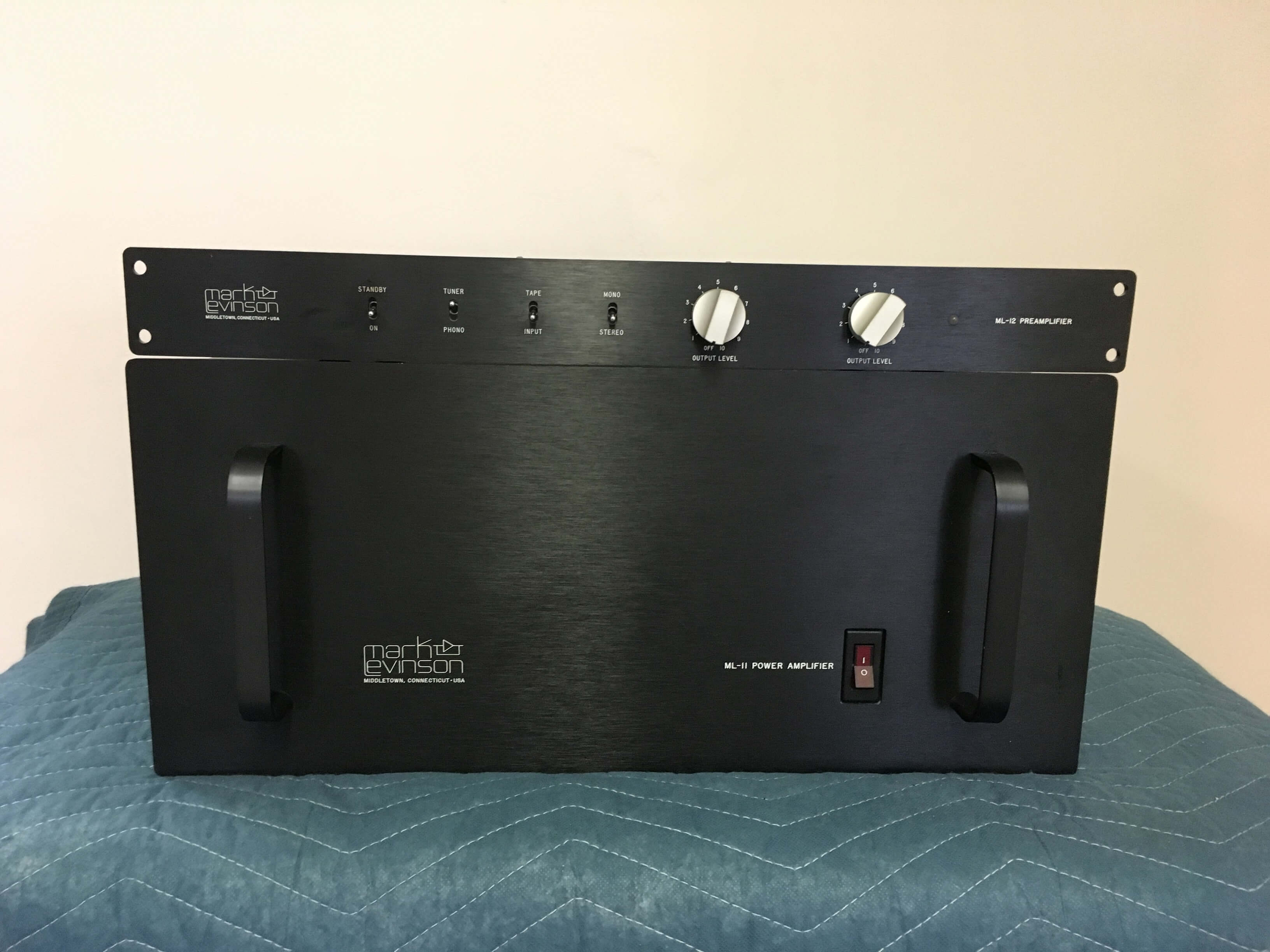 Mark Levinson ML-12 preamplifier and ML-11 power amplifier system with Camac cables