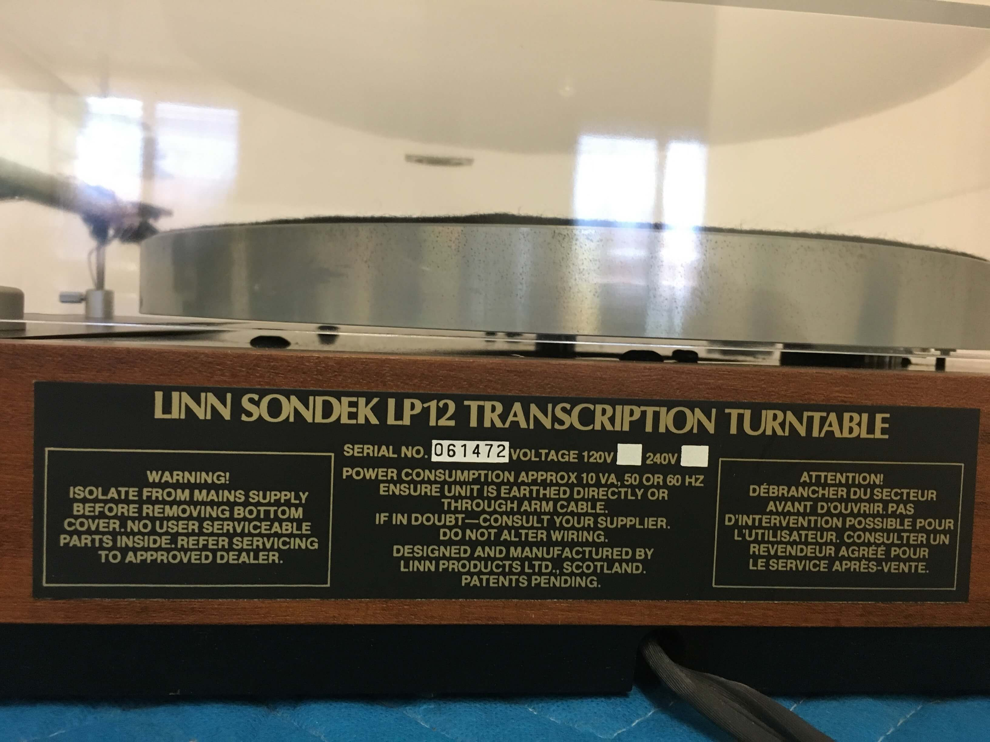 Linn Sondek LP12 transcription turntable