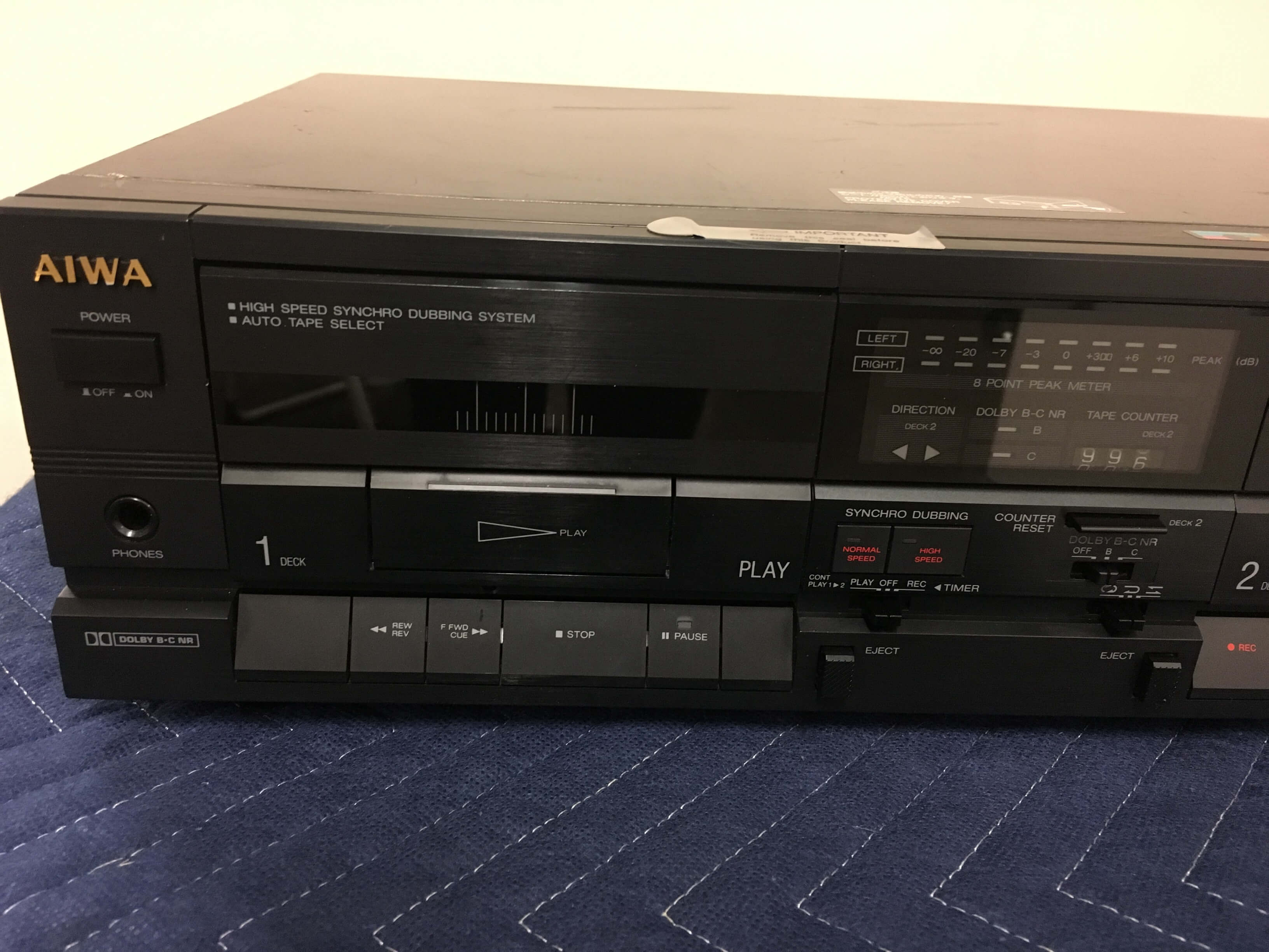 AIWA AD-WX707 dual well stereo cassette deck