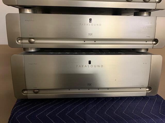 Parasound C2 controller, A23 amplifier, A52 amplifier & Zhd HDMI selector