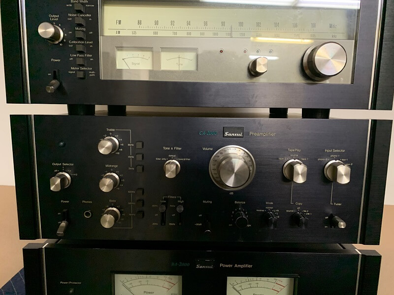 Sansui TU-9900 AM/FM stereo tuner, CA-2000 preamplifier, & BA-2000 power amplifier